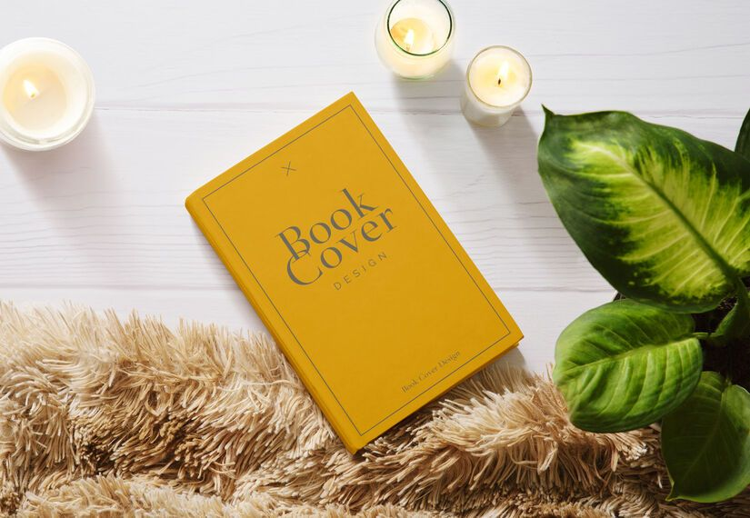 Book cover candles mockup composition