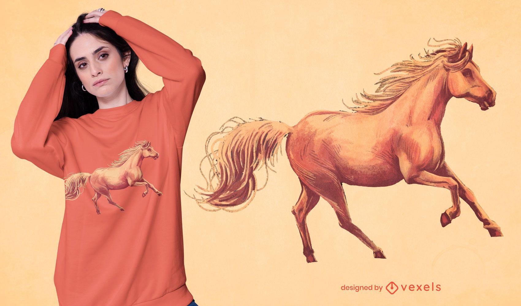 Dise?o de camiseta de caballo realista.