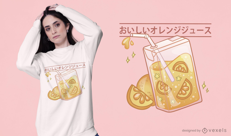 Design fofo de t-shirt com caixa de suco de laranja