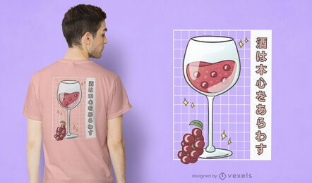Kawaii wine glass t-shirt design