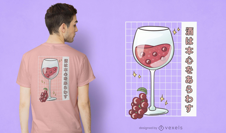 Design de t-shirt em copo de vinho Kawaii