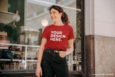 Cafe model t-shirt mockup
