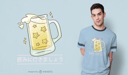 Diseño de camiseta japonesa de cerveza.