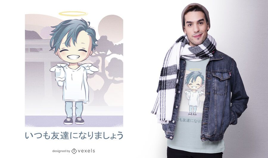 Lindo diseño de camiseta de anime angel