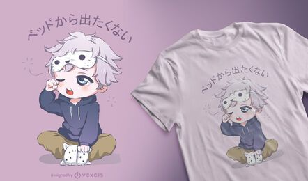 Schläfriges Anime-Jungen-T-Shirt Design
