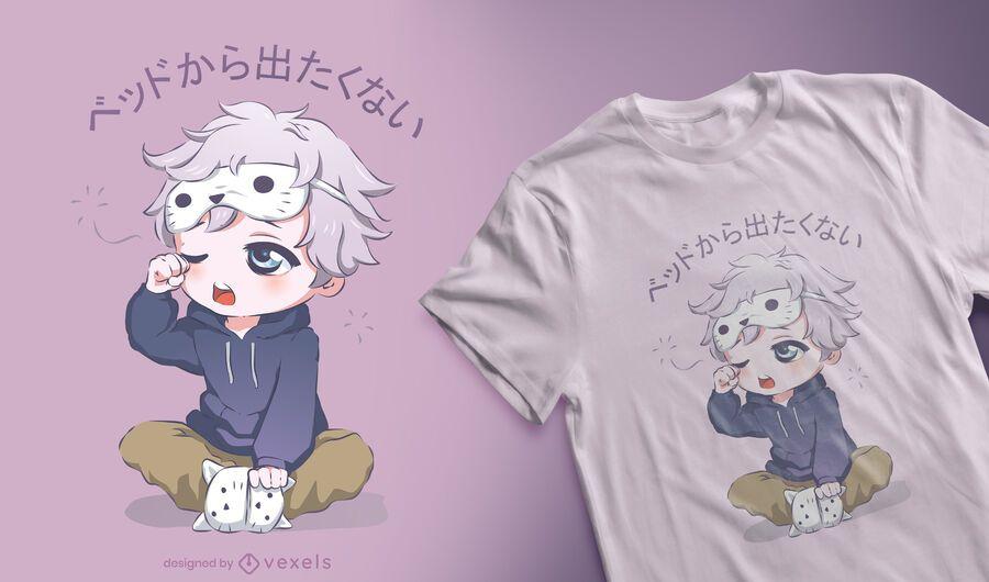 Diseño de camiseta de chico anime soñoliento
