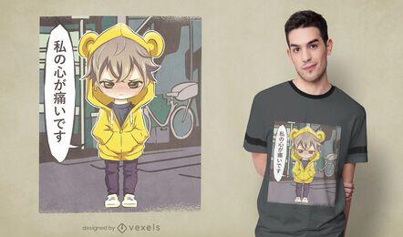 Diseño de camiseta infantil de anime enojado.