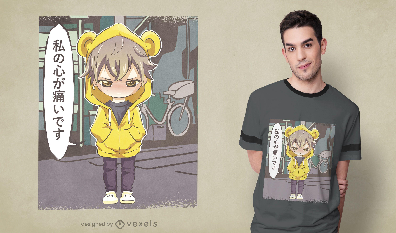 Dise?o de camiseta infantil de anime enojado.