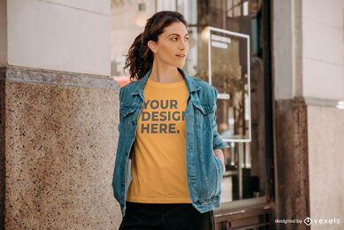 Model outside t-shirt mockup design