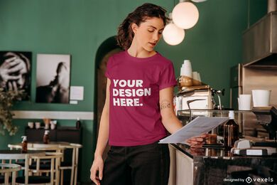 Woman reading t-shirt mockup