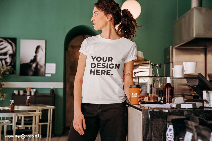 Coffee model t-shirt mockup