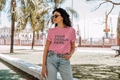 Urban model t-shirt mockup design