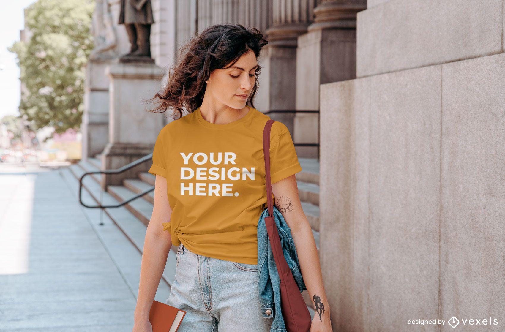 Maqueta de camiseta de calle de mujer