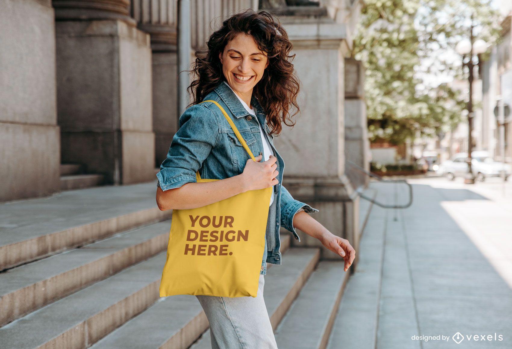 Woman outside tote bag mockup design