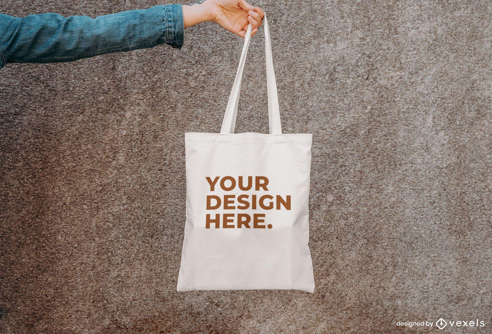 Wall tote bag mockup design