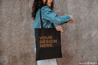 Modelo de sacola com design de maquete externa