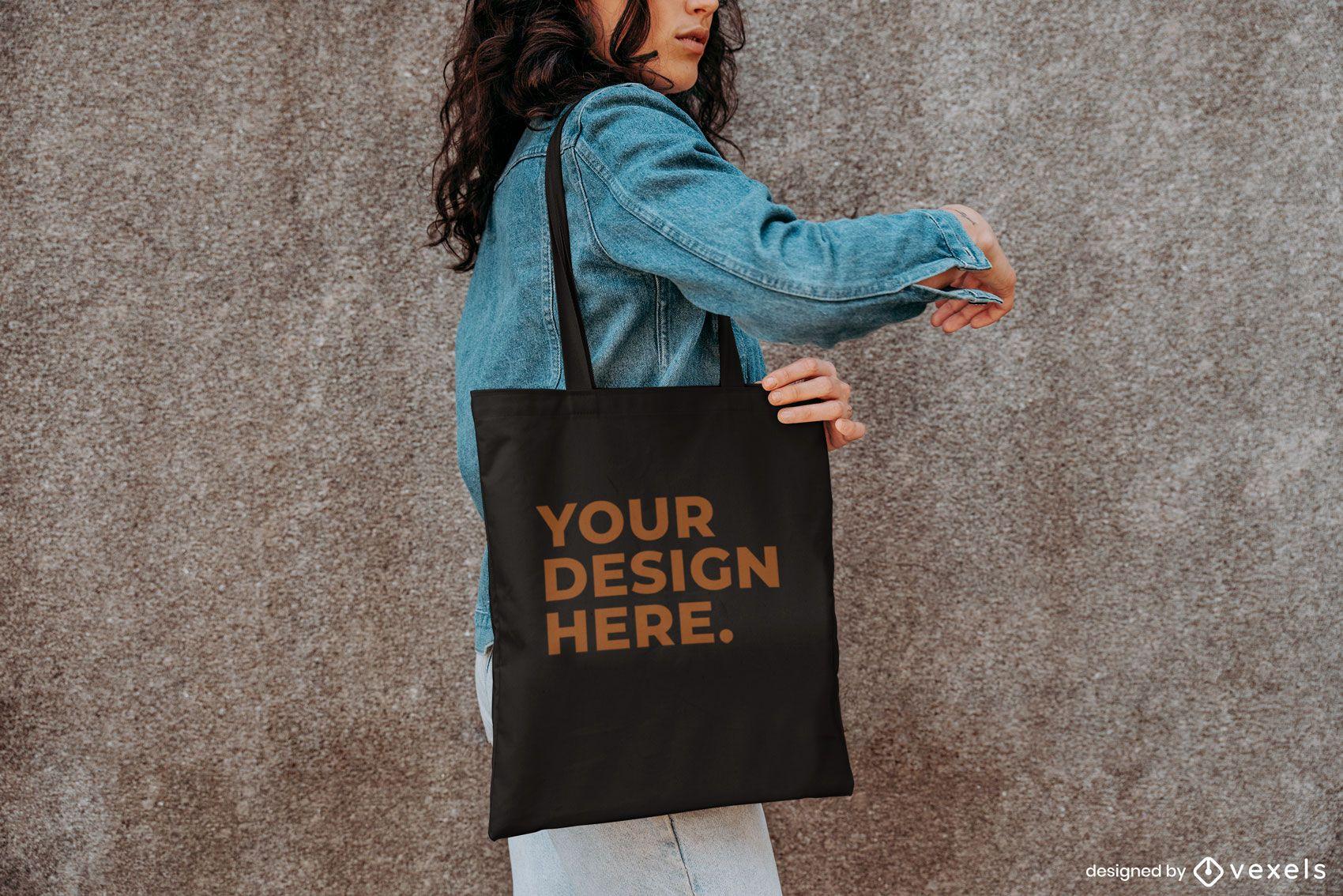 Tote bag model outside mockup design