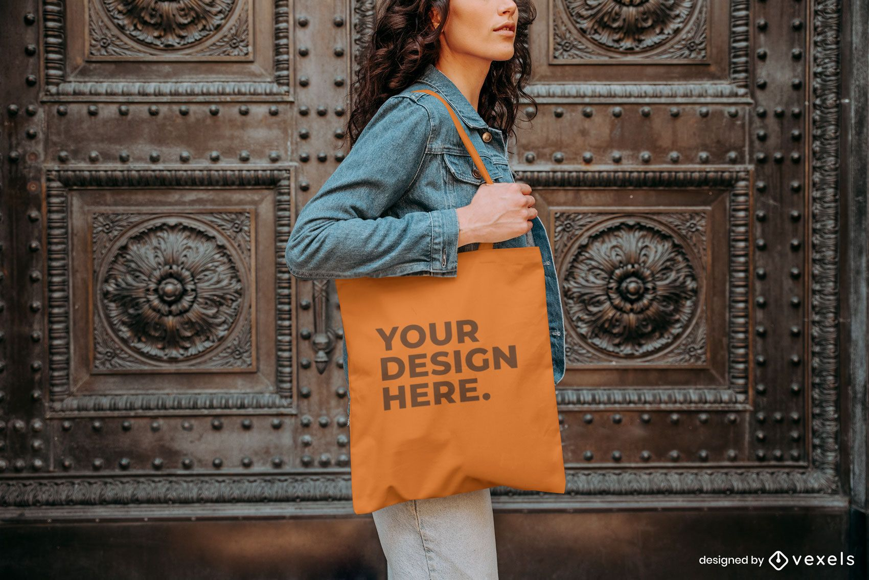 Model tote bag outside mockup design