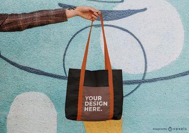 Mockup de bolso de mano colgante diseño psd