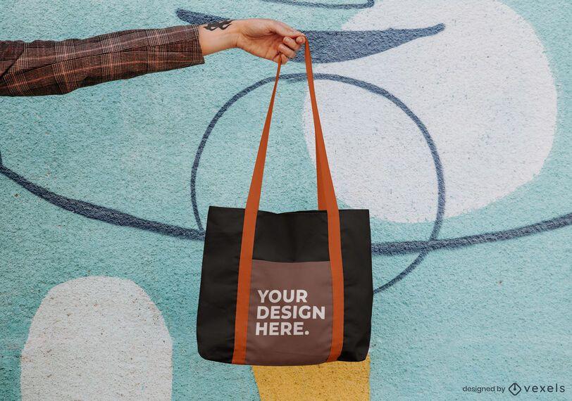 Hanging tote bag mockup psd design