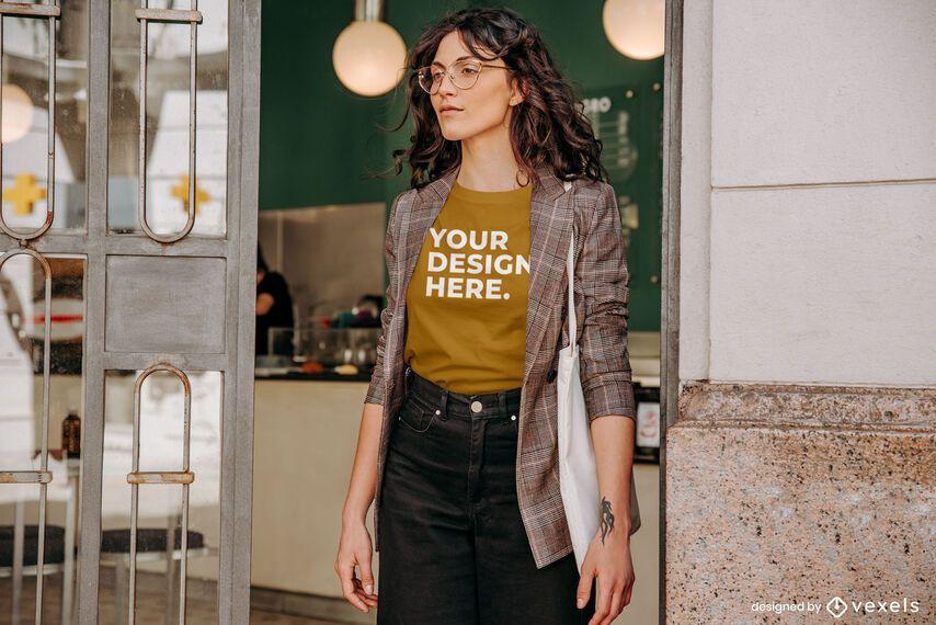 Model coffee shop t-shirt mockup design