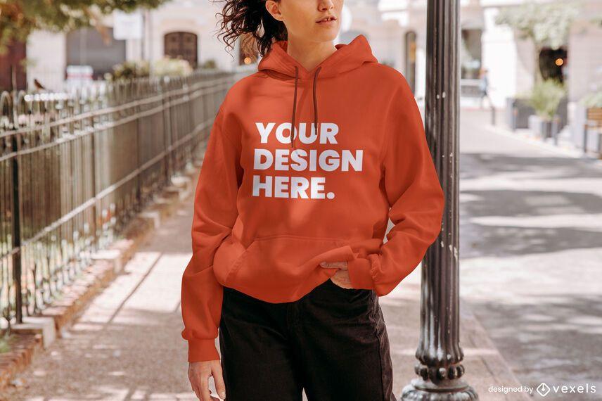 Street model hoodie mockup design