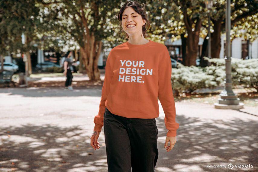 Happy model sweatshirt mockup design