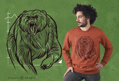 Design de camiseta com urso do mercado de ações