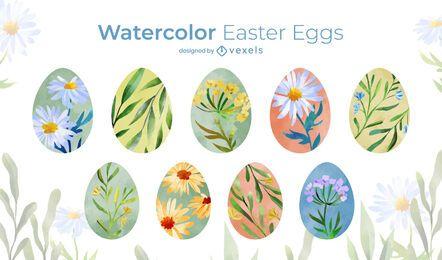 Conjunto de huevos de Pascua acuarela