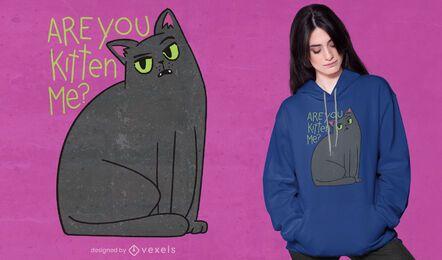 Design atrevido de t-shirt de gatinho preto