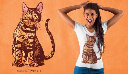 Diseño de camiseta realista de gato de Bengala.