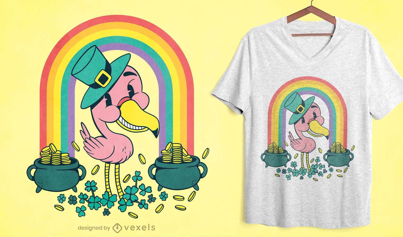 Diseño de camiseta St Patricks flamingo