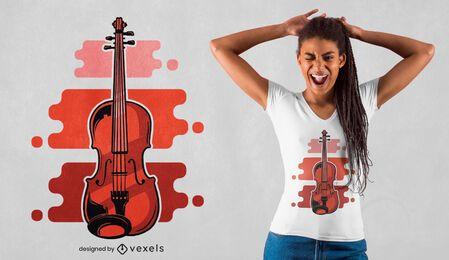 Diseño de camiseta roja violín