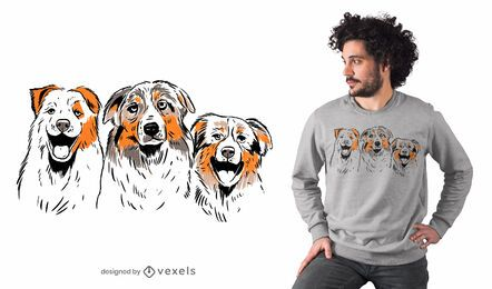 Diseño de camiseta de pastores australianos.