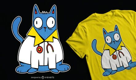 Diseño de camiseta cat doctor