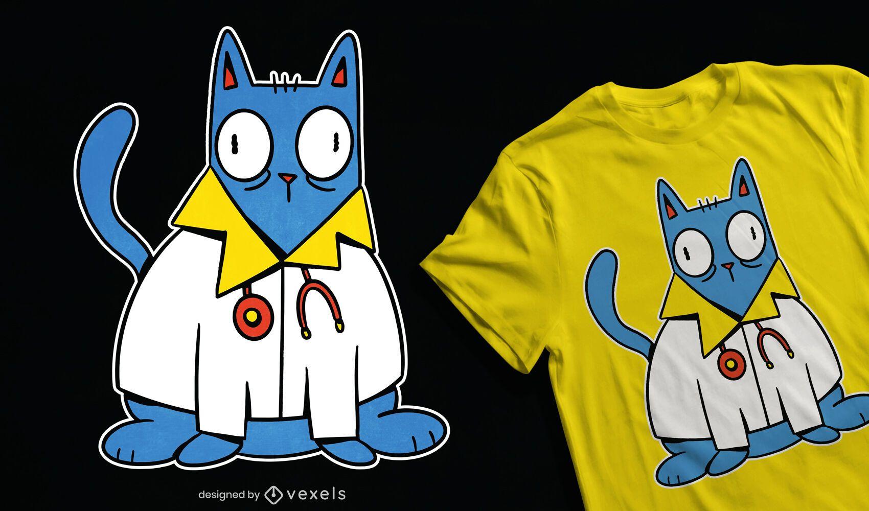 Diseño de camiseta cat doctor