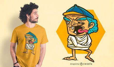 Diseño de camiseta de anciano loco