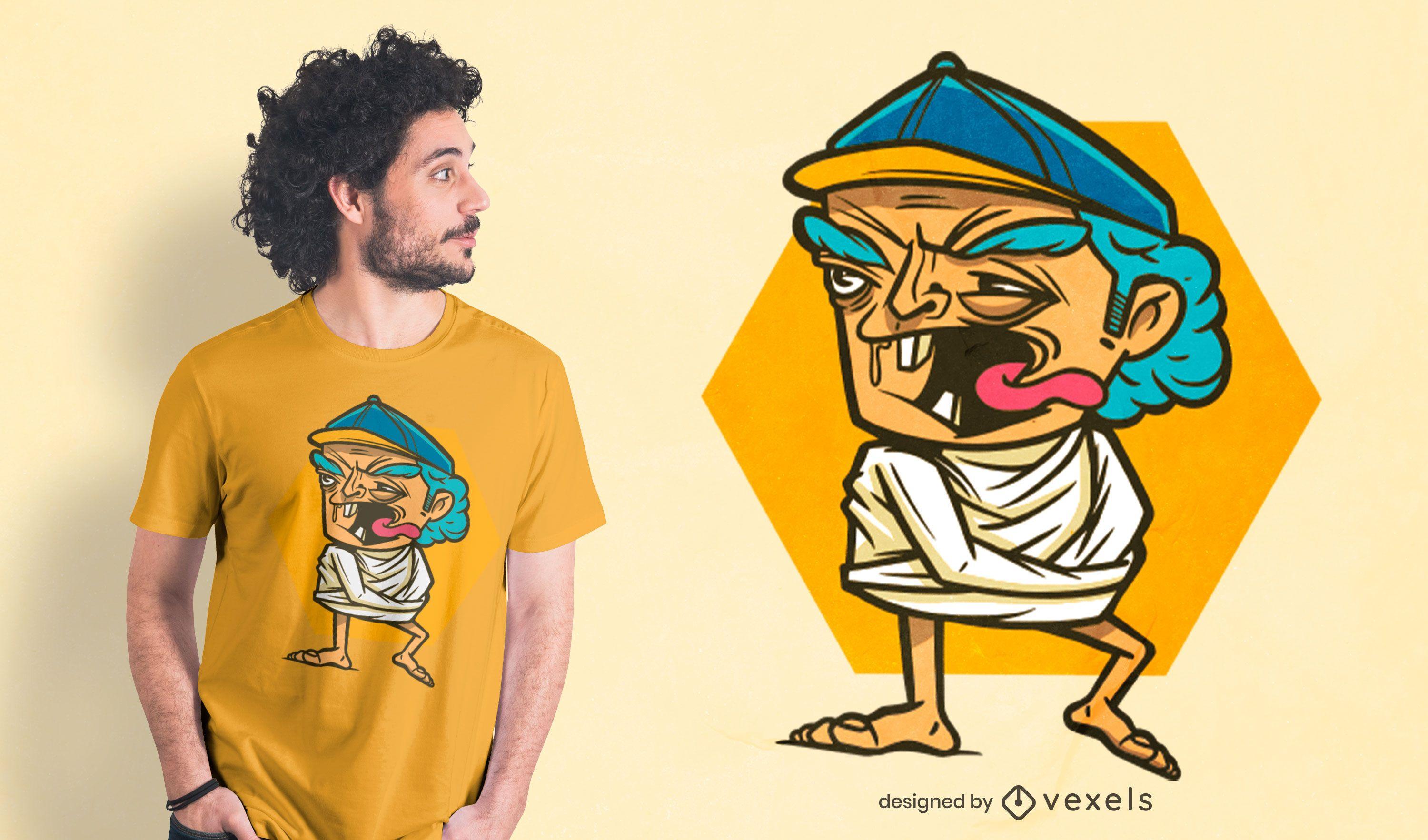 Crazy elderly man t-shirt design