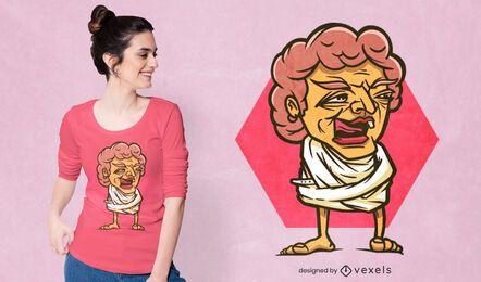 Diseño de camiseta mujer anciana loca