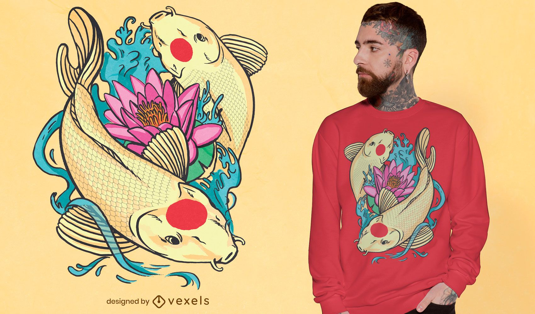Design de t-shirt de peixes koi Tancho