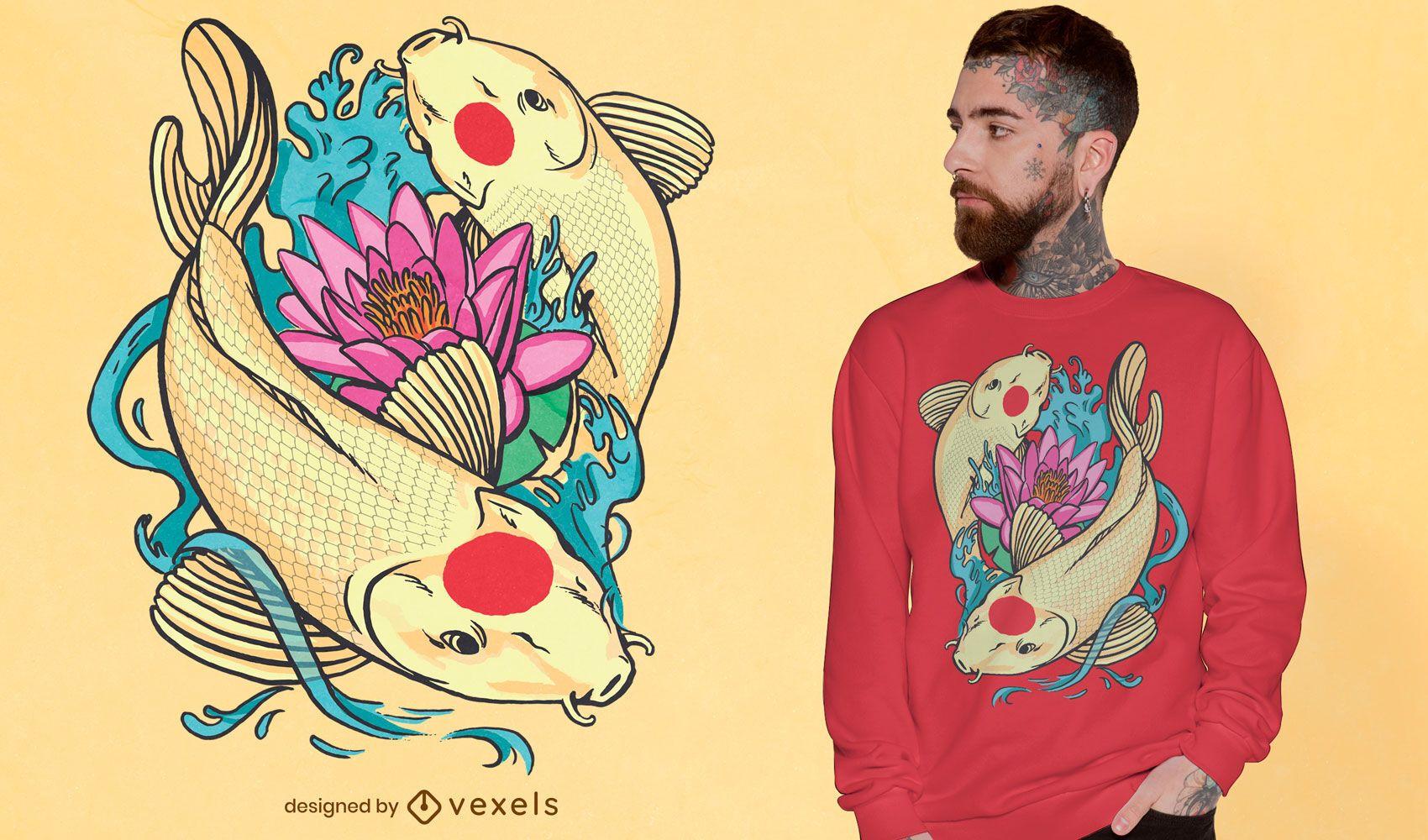 Diseño de camiseta de pez tancho koi