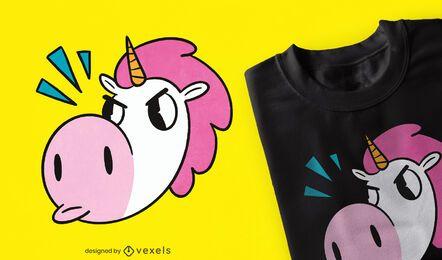 Diseño de camiseta de unicornio enojado