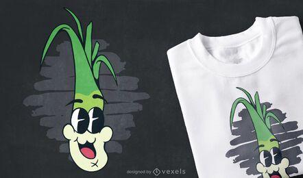 Diseño divertido de camiseta de puerro