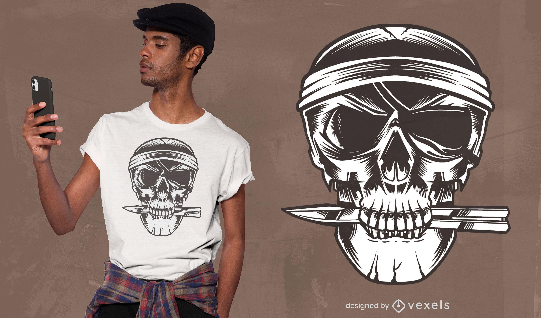 Pirate skull knife t-shirt design