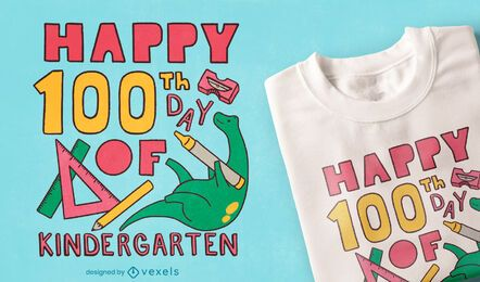 Diseño de camiseta de jardín de infantes del día 100