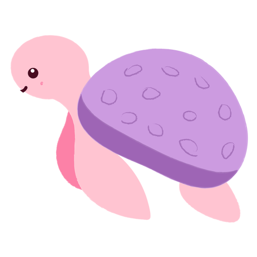 Tortuga feliz nadando plana