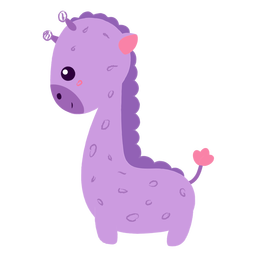 Happy purple giraffe flat