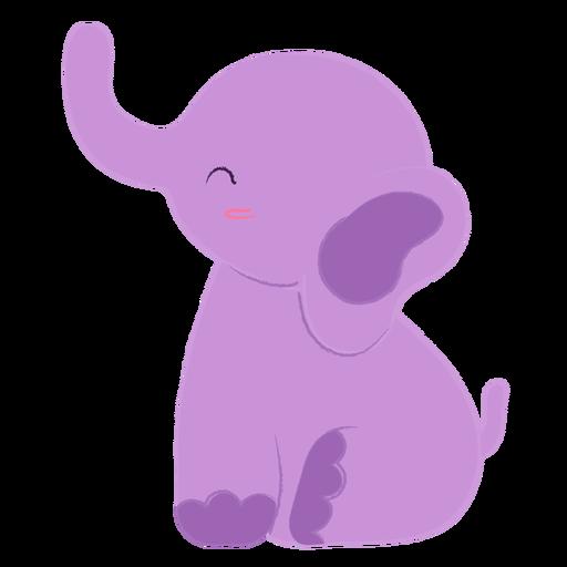 Feliz elefante morado plano