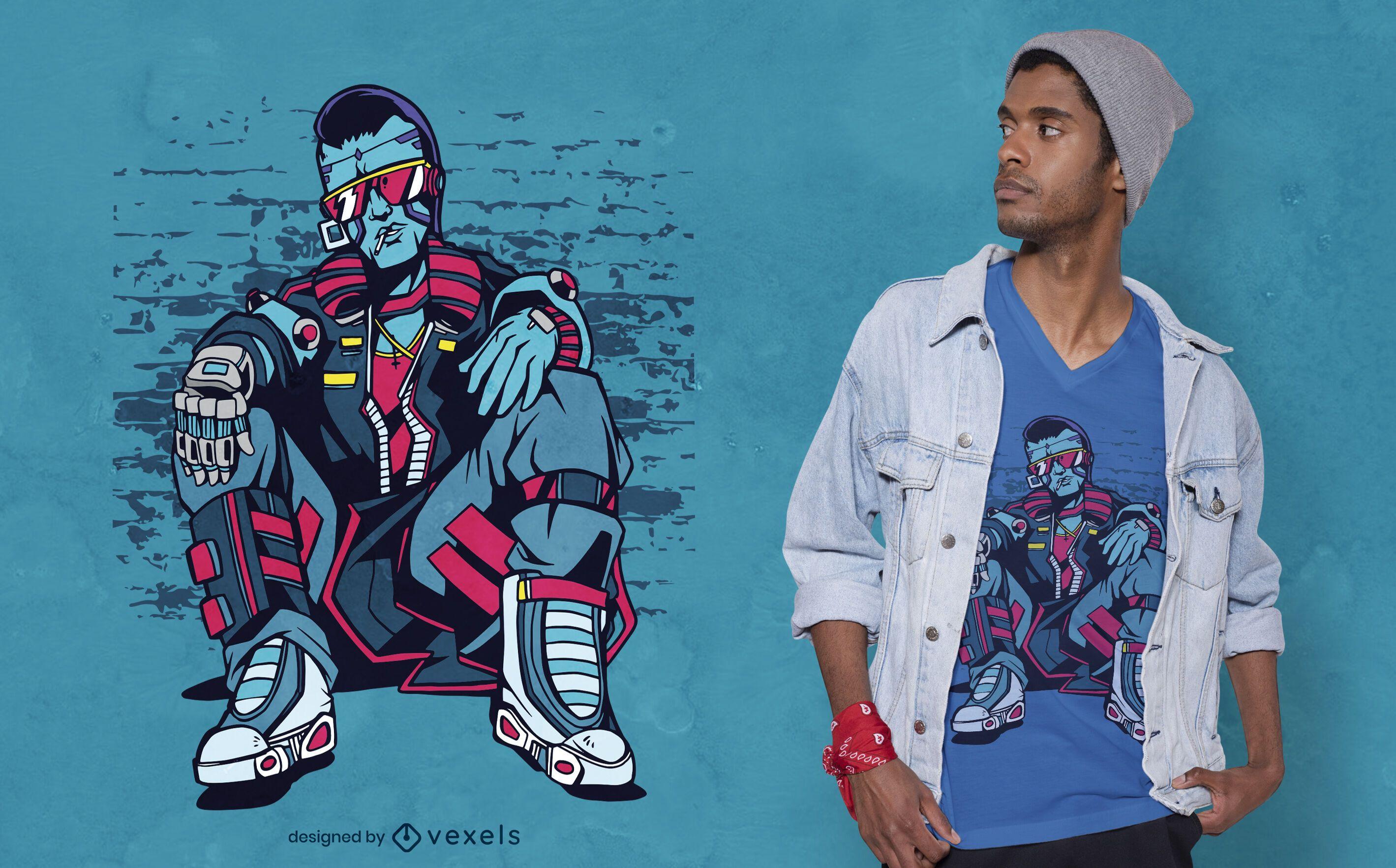 Diseño de camiseta Cyberpunk Urban Man