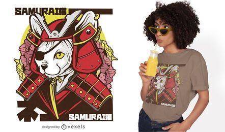 Design de camiseta de gato samurai japonês
